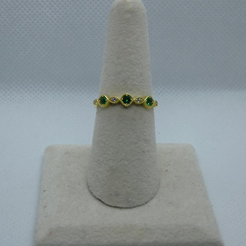 Sterling Silver Yellow Gold Plated Emerald Ring