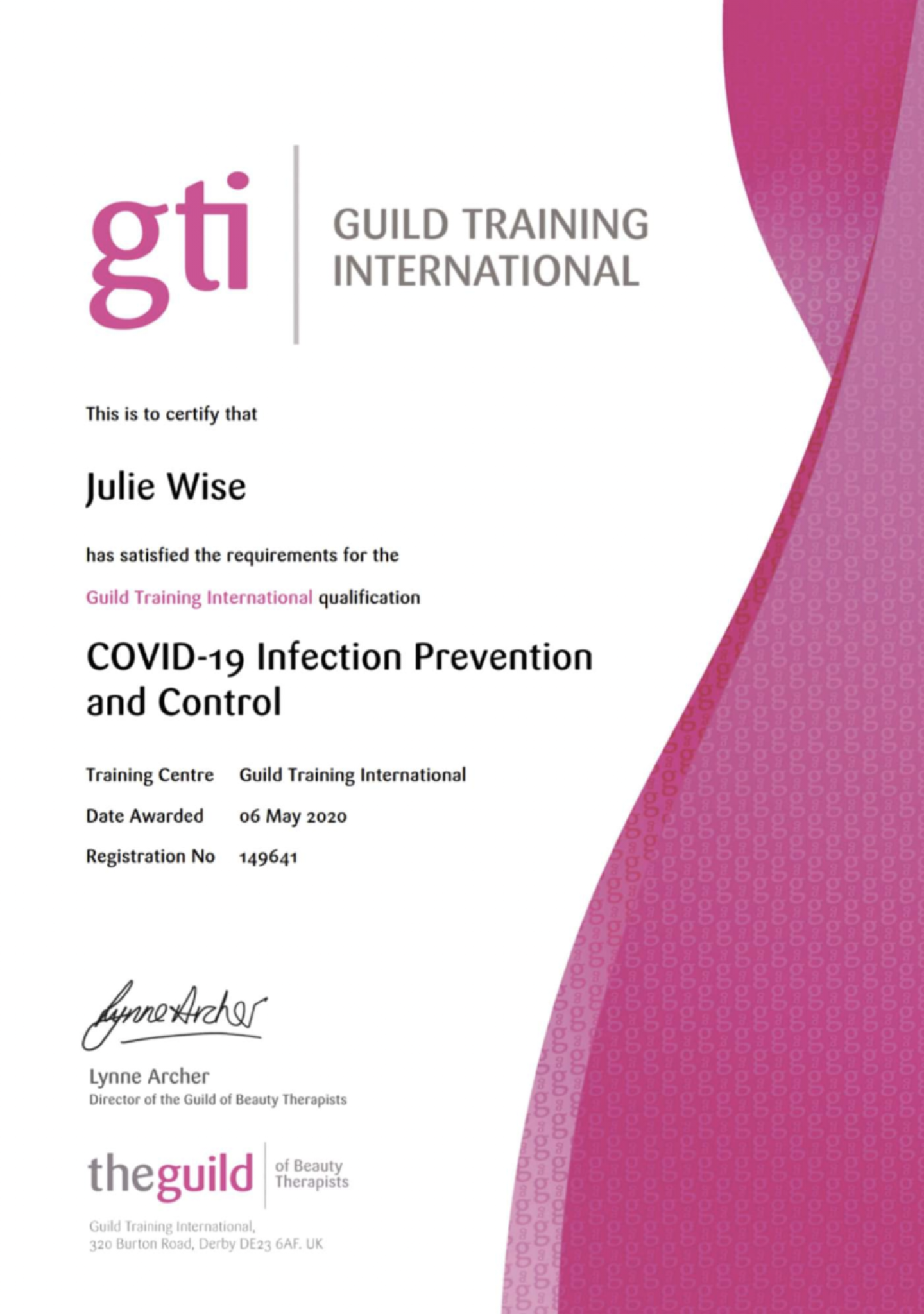 Guild Training Covid-19 Infection Prevention & Control