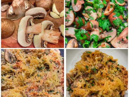 Crispy Baked Spaghetti Squash With Crimini Mushrooms and Herbs
