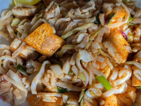 Vegetarian Lo Mein with Crispy 5 Spice Tofu