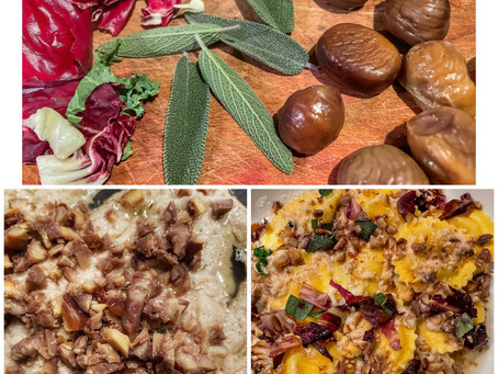 Lemon Ricotta Ravioli in an Artichoke Sauce With Roasted Chestnuts, Wilted Radicchio and Sage