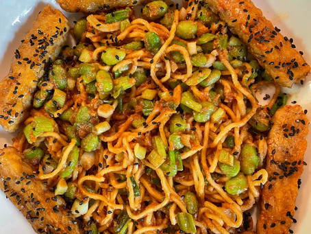 Sesame/Peanut Noodles With Edamame and Lime Crusted Tempeh