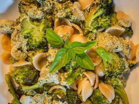 Orecchiette with Garlic Broccoli in Vegan Creamy Pesto Sauce