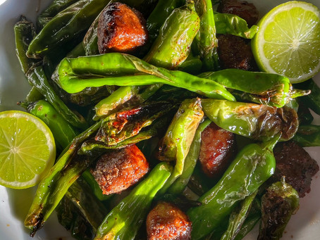 Blistered Shishito Peppers with Chili Crusted Vegan Beef