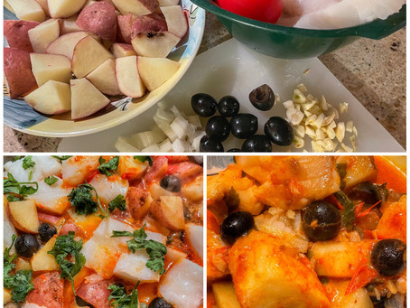 Fresh Cod Italian Style With Potatoes, Olives, Capers in Fresh Tomato Sauce