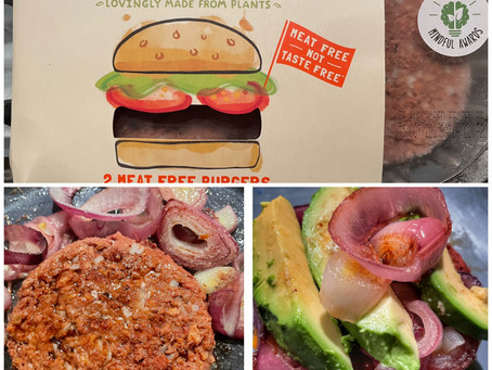 Veggie Burger With Red Onion and Avocado