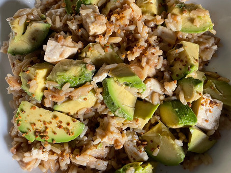 Sesame Basmati Rice with Avocado and Tofu and Slivered Almonds
