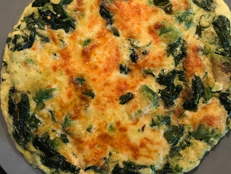 Egg White Frittata With Avocado, Spinach and Herbs