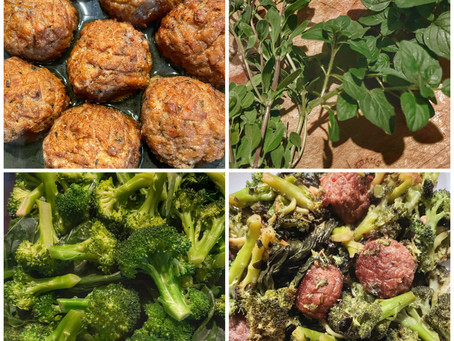 Broccoli with Vegan Italian Meatballs and Marjoram