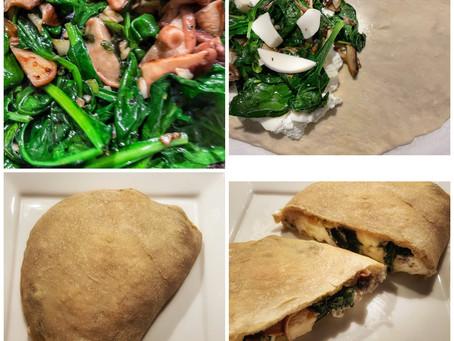 Spinach Mushroom Calzone With Mozzarella and Ricotta Cheese