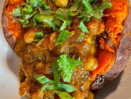 Baked Yam Stuffed with Chana Masala