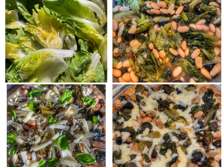 Pizza With Escarole, White Beans, Capers, Olives