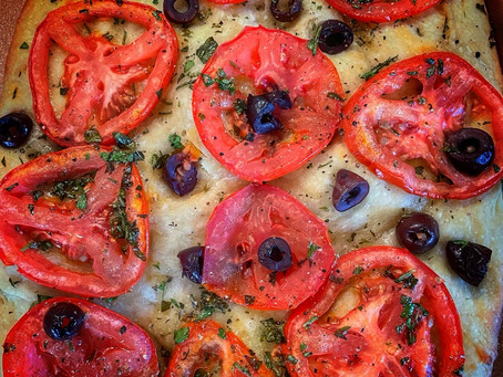 Focaccia with Tomatoes Olives and Herbs