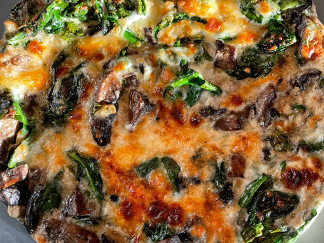 Egg White Frittata With Fresh Spinach and Mushrooms