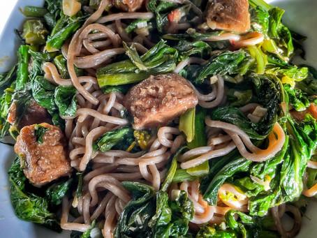Soba Noodles with Chinese Greens and Vegan Beef