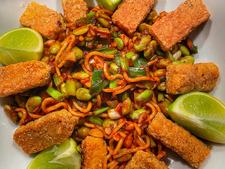 Chili Crusted Tempeh in Asian Noodles with Edamame
