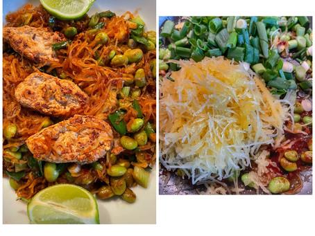 Yakisoba Spaghetti Squash With Vegan Chicken and Edamame