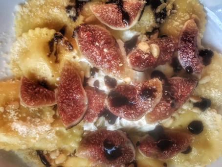 Lemon Ricotta Ravioli With Fresh Figs, Mascarpone and Pine Nuts