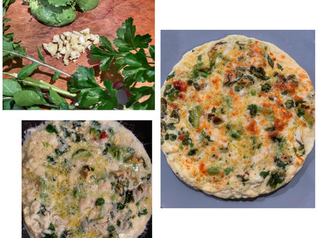 Egg White Frittata with Avocado, Arugala and Herbs