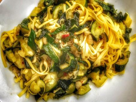 Linguine with Zucchini and fresh Basil