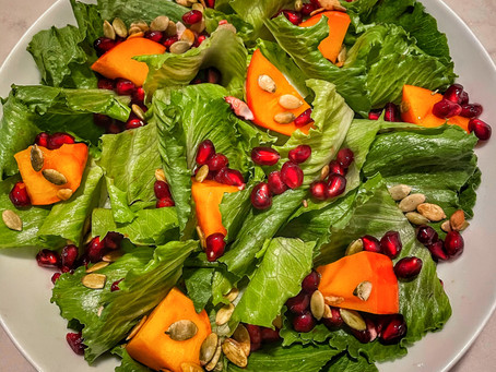 Baby Gem Salad With Persimmon, Pomegranate and Pumpkin Seeds