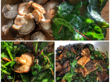 Swiss Chard, Shitake Mushrooms and Seared Tofu in Garlic Sauce With Fresh Herbs