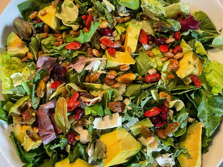 Multi Green Salad with Avocado, Goji Berries and Pistachios