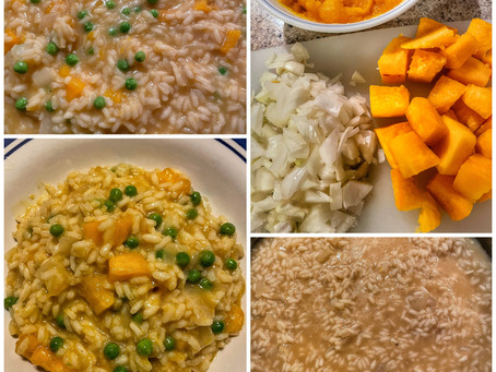 Pumpkin Risotto With Saffron and Peas