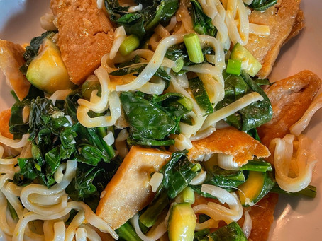 Thai Ribbon Noodles in Coconut Chili Sauce with Chinese Broccoli and Vegan Chicken