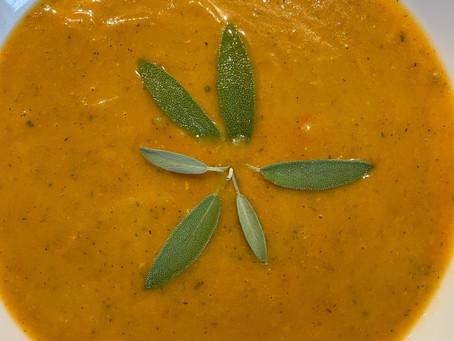 Yam Zucchini Soup with White Beans and Sage