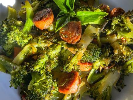 Sautéed Broccoli with Herbs and Vegan Italian Sausage