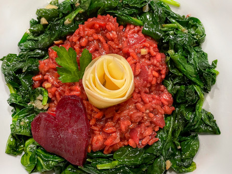 Beet Risotto With Sautéed Spinach and a Mozzarella Rose
