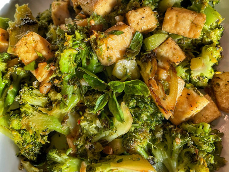 Caramelized Broccoli with Fresh Herbs and Crispy Air Fryer Tofu