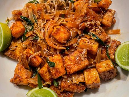 Vegan Pad Thai With Chili Crusted Tofu and Lime