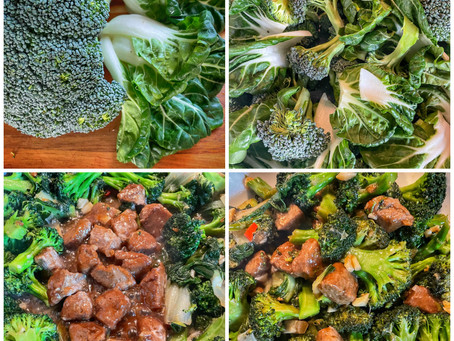 Broccoli and Bok Choy with Vegan Beef in Garlic/Ginger Sauce