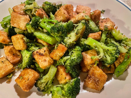 Garlicky Herbed Broccoli with Parmesan Crusted Tofu