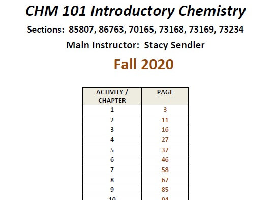ASU CHM 101 Workbook