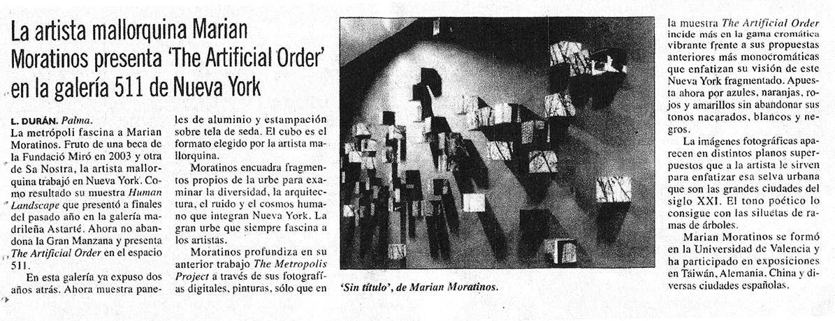 """La mallorquina Marian Moratinos presenta """"The Artificial Order"""" en la Galería 511 de NY"""