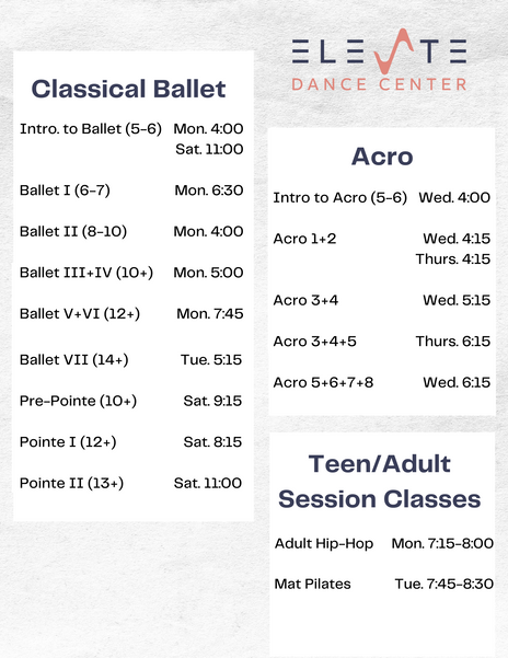 Ballet, Acro and Adult classes at Elevate Dance Center in Ipswich