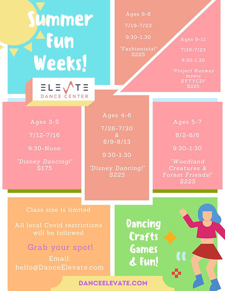 Summer Camps at Elevate Dance Center in Ipswich