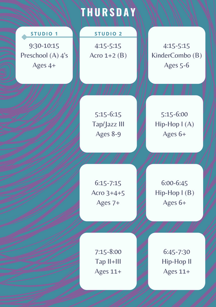 Elevate Dance Center Thursday Schedule