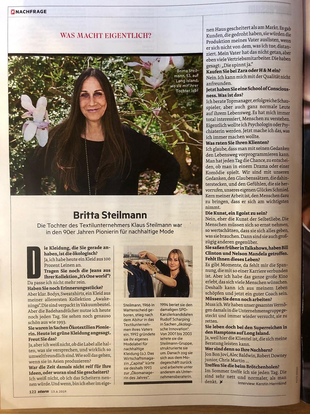 """Das Magazin stern interviewte Britta Steilmann für die Rubrik """"Was macht eigentlich ....?"""" über ihre School of Consciousness."""