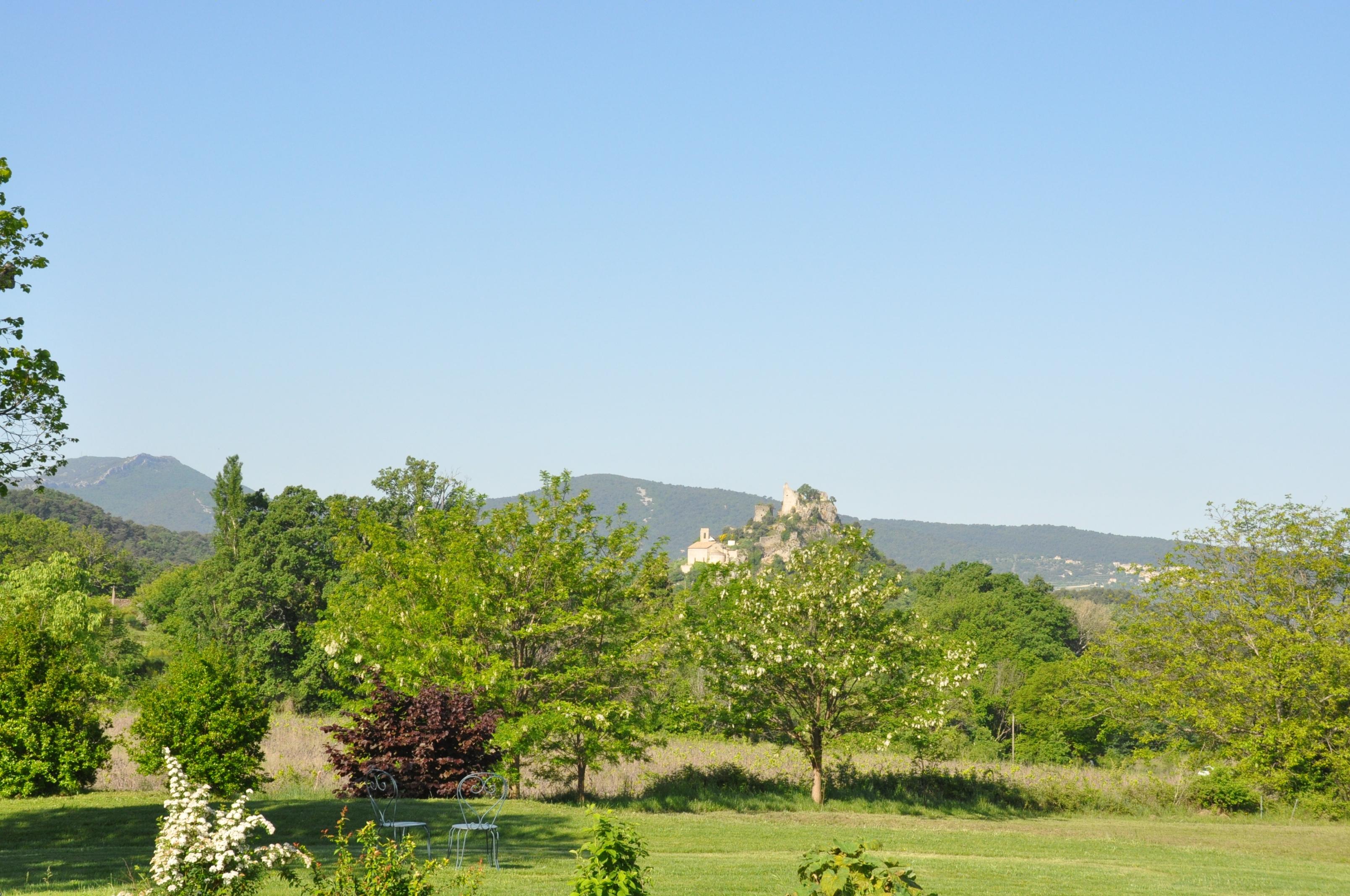 vue sur le château d'entrechaux