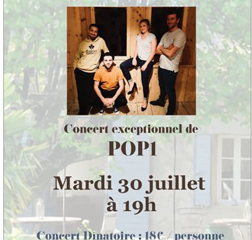 Jazz au jardin mardi 30 juillet : POP1 en concert au Mas