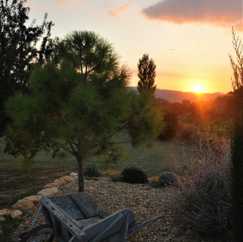 couché de soleil au Mas en Provence