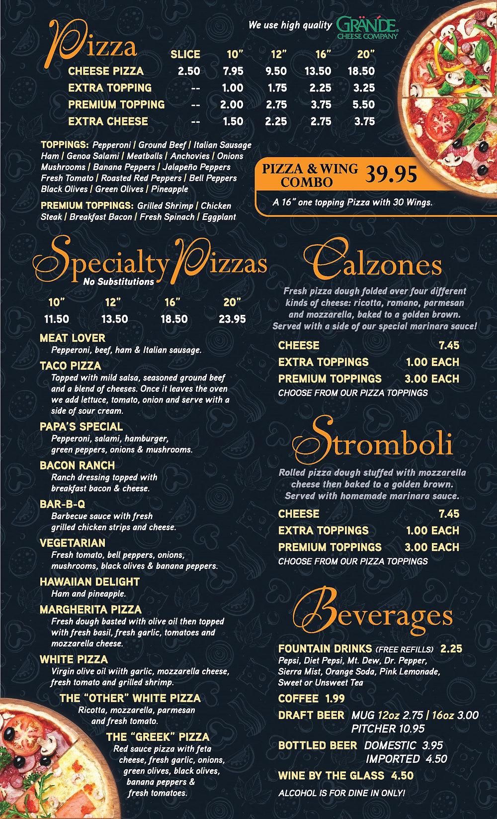 Papa s Pizza - Dine In Menu 5-18A    PRO