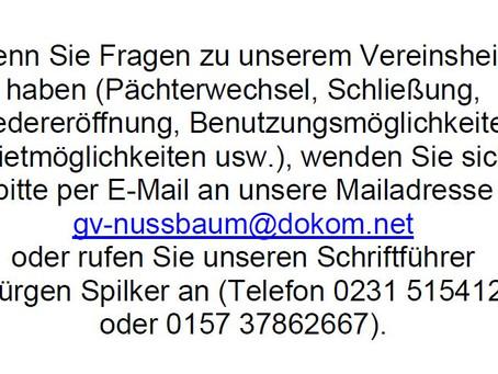 Information zum Vereinsheim / Gaststätte