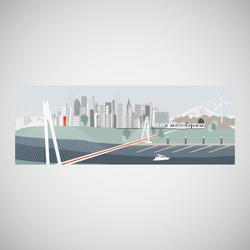 Bridge Tunnel and marine illustration