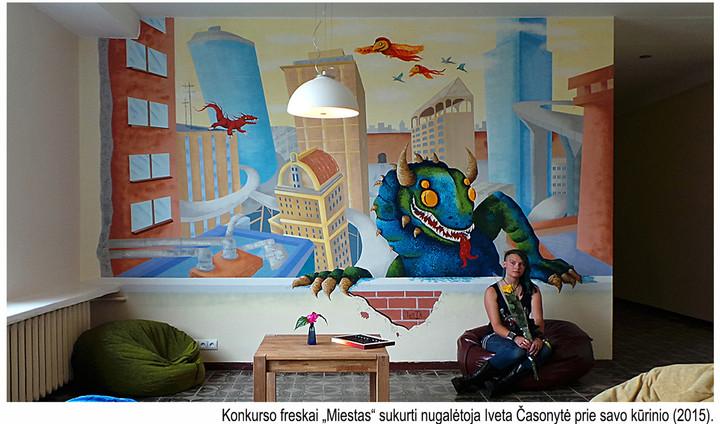 Iveta at her art work 'Town'