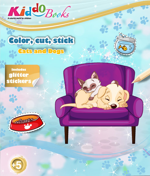 6010  Cats and Dogs-With glitter stickers
